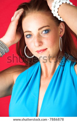 stock photo : Young female adult fashion model with natural red hair and ...