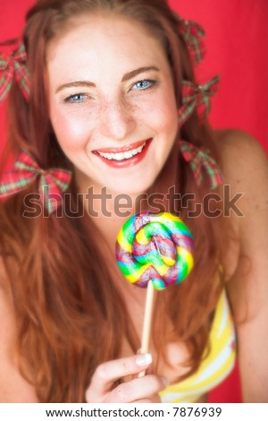stock photo young female adult fashion model with natural red hair and freckles in a yellow bikini with a big 7876939 Pictures of Heavy Boned Double Coated Female Adult Labrador Retriver for ...