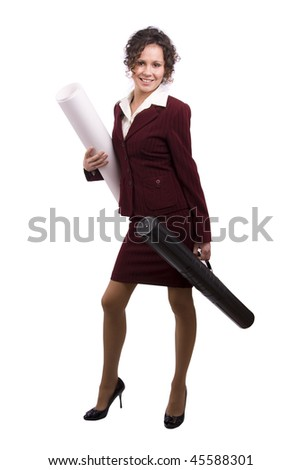 Young female architect holding tube with blueprints. Construction worker with tubes containing blueprints, isolated on a white background. Young engineer working on draft.