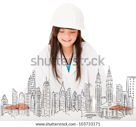 Young female architect sketching a city - isolated over white