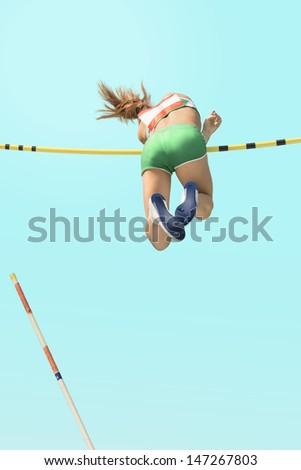 Young female athletes  pole vault failed