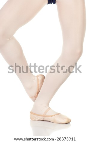 Young female ballet dancer showing various classic ballet feet positions on a white background - Petit jete derriere. NOT ISOLATED