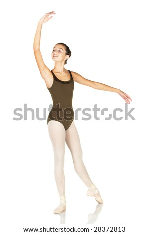 Young female ballet dancer showing various classic positions on a white background - Ecarte. NOT ISOLATED