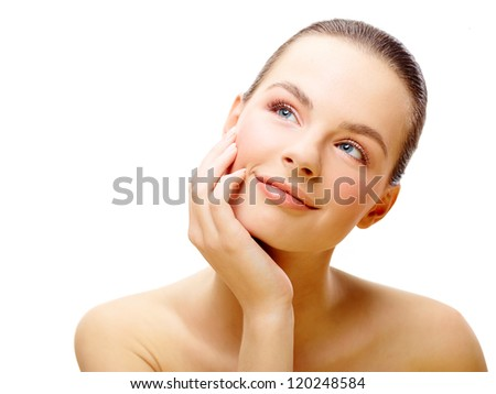 Young female beauty portrait over isolated white background