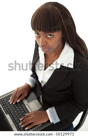 Young female black with laptop looking up for help