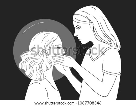Young female character holding head of another woman hand drawn in black and white colors. Concept of empathy, psychological aid, self reflection, introspection. Monochrome illustration