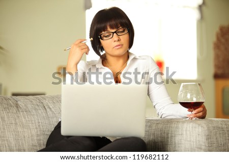 young female chatting over internet