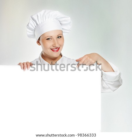 Young female chef showing today's menu
