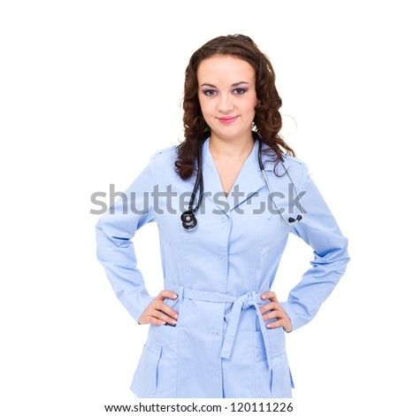 Young female doctor portrait against isolated white background