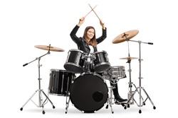 Young female drummer starting a drum session isolated on white background