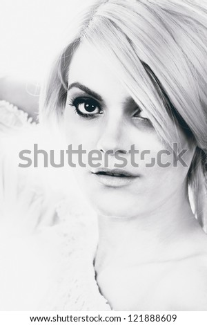 young female fashion model black and white head shot