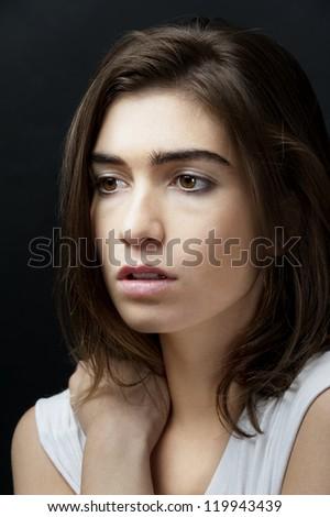young female fashion model head shot