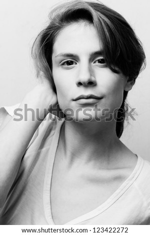 young female fashion model head shot fine art portrait