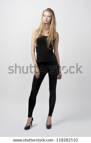 young female fashion model with long blond hair