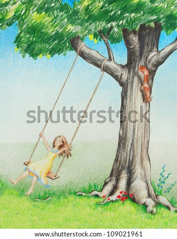 young female girl on tree swing enjoys playing outside in summer and nature, child is happy healthy and smiling, hand drawn sketch illustration is colored pencil art shows summer vacation from school