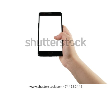 young female hand hold smatphone with blank screen isolated on white #744182443