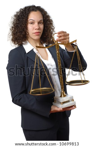 Young female lawyer holding the universal sign of justice and equality