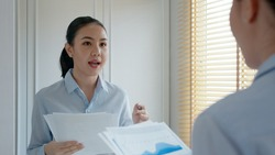Young female leader, asia people lady or mba student happy standing smile look at in front of mirror pep talk for sale pitch hold paper document script public speak skill for job career self improve.