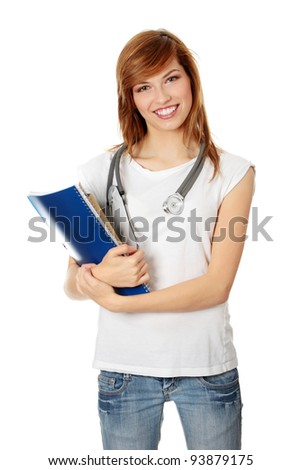Young female medicine student, isolated on white