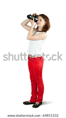 Young female photographer, isolated over white background