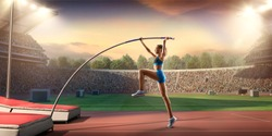 Young female pole vault athlete with pole bar. Women in sport clothes at athletic sport track in professional stadium