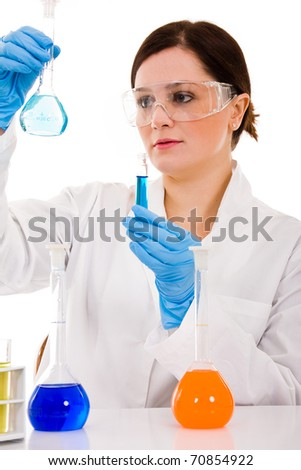 young female researcher carrying out scientific research, isolated on white
