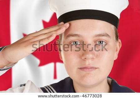 young female sailor saluting in front of canadian flag