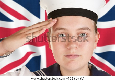 young female sailor saluting in front the union jack