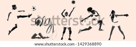 Young female sportswomen, creative collage. Women in sport's equipment and shoes or sneakers training and practicing. Concept of sport, healthy lifestyle, motion and movement, women's rights. Foto d'archivio ©