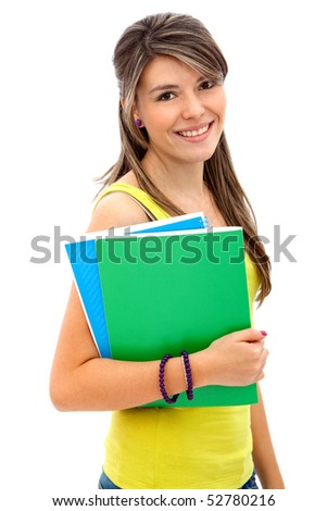 Young female student with notebooks isolated over a white background