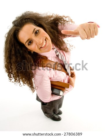 young female student with thumbs up on an isolated background