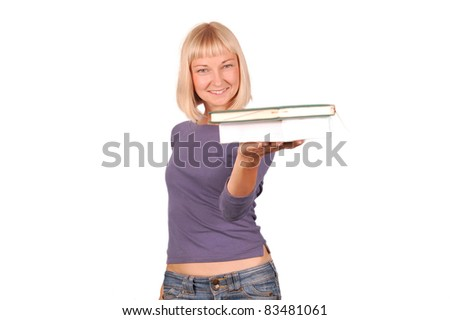 Young  Female Student/Young Student  Showing Books