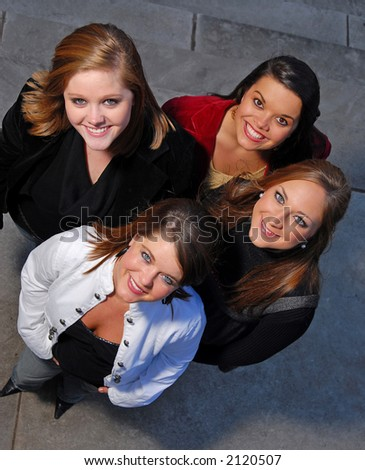 Young female students from above