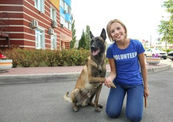 Young female volunteer with homeless dog outdoors. Concept of volunteering and animal shelters
