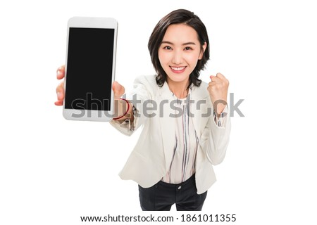 Young female white-collar workers with mobile phones Foto stock ©