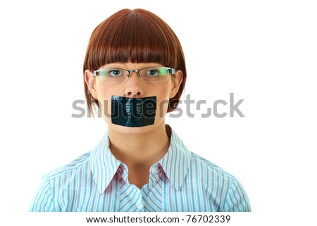 young female with duct tape on her lips, isolated on white