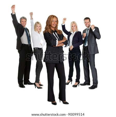 Young female with her business colleagues celebrating success at back on white background