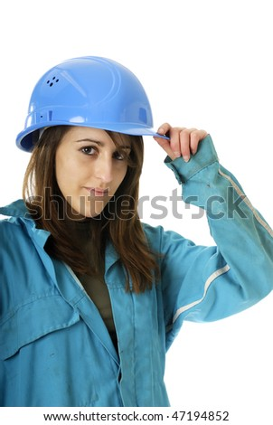 young female worker with blue helmet and coverall