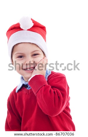 Young festive boy with one hand on his face, over white