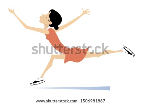 Young figure skater illustration. Young figure skater woman isolated on white