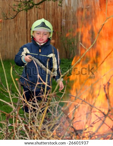 Young fireman in action