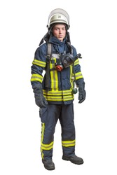 Young fireman with a mask and an air pack on his back in a fully protective suit on a white background