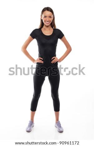 young fitness trainer standing isolated over white background