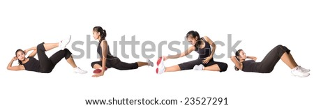 Young fitness woman in exercise poses, isolated on white