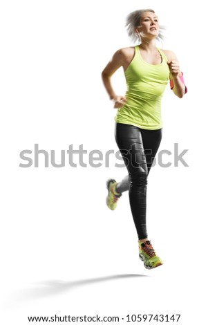 young fitness woman runner isolated at white #1059743147