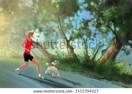 Young fitness woman running at morning park with a happy dog.Digital painting.