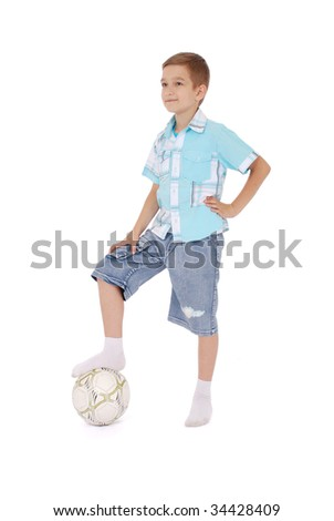 Young football player. Isolated on white