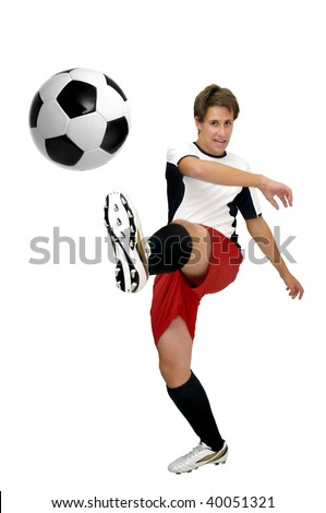 Young football player with a ball isolated in white