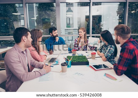 Young freelancers working on financial report in office with big desktop for training #539426008
