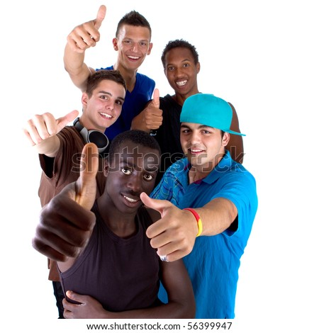 Young fresh interracial group of teenagers showing thumbs up sign as a sign of success. Isolated over white background.